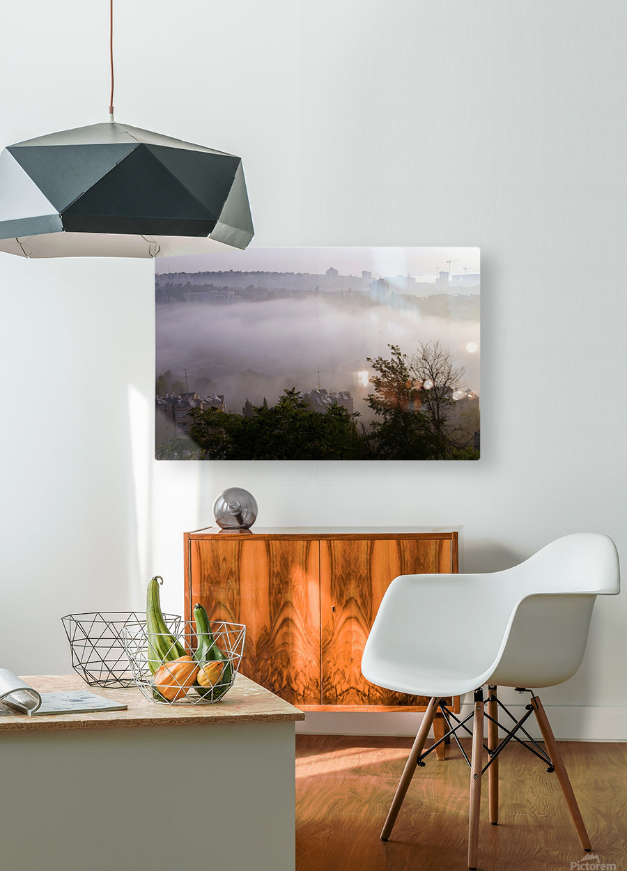 Foggy morning  HD Metal print with Floating Frame on Back