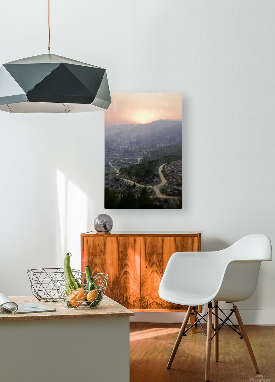 Hills at sunset  HD Metal print with Floating Frame on Back