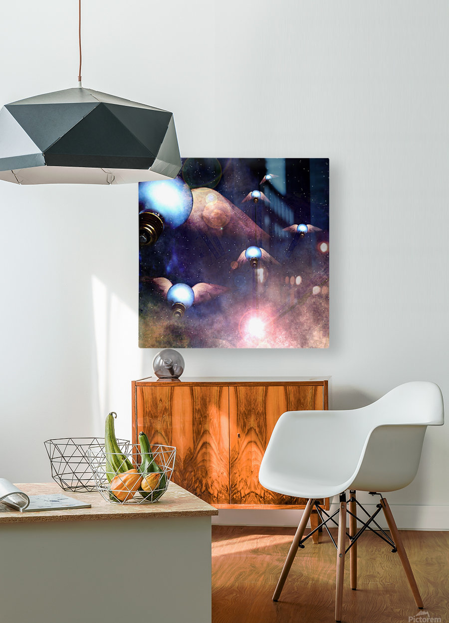 Winged Light Bulbs  HD Metal print with Floating Frame on Back