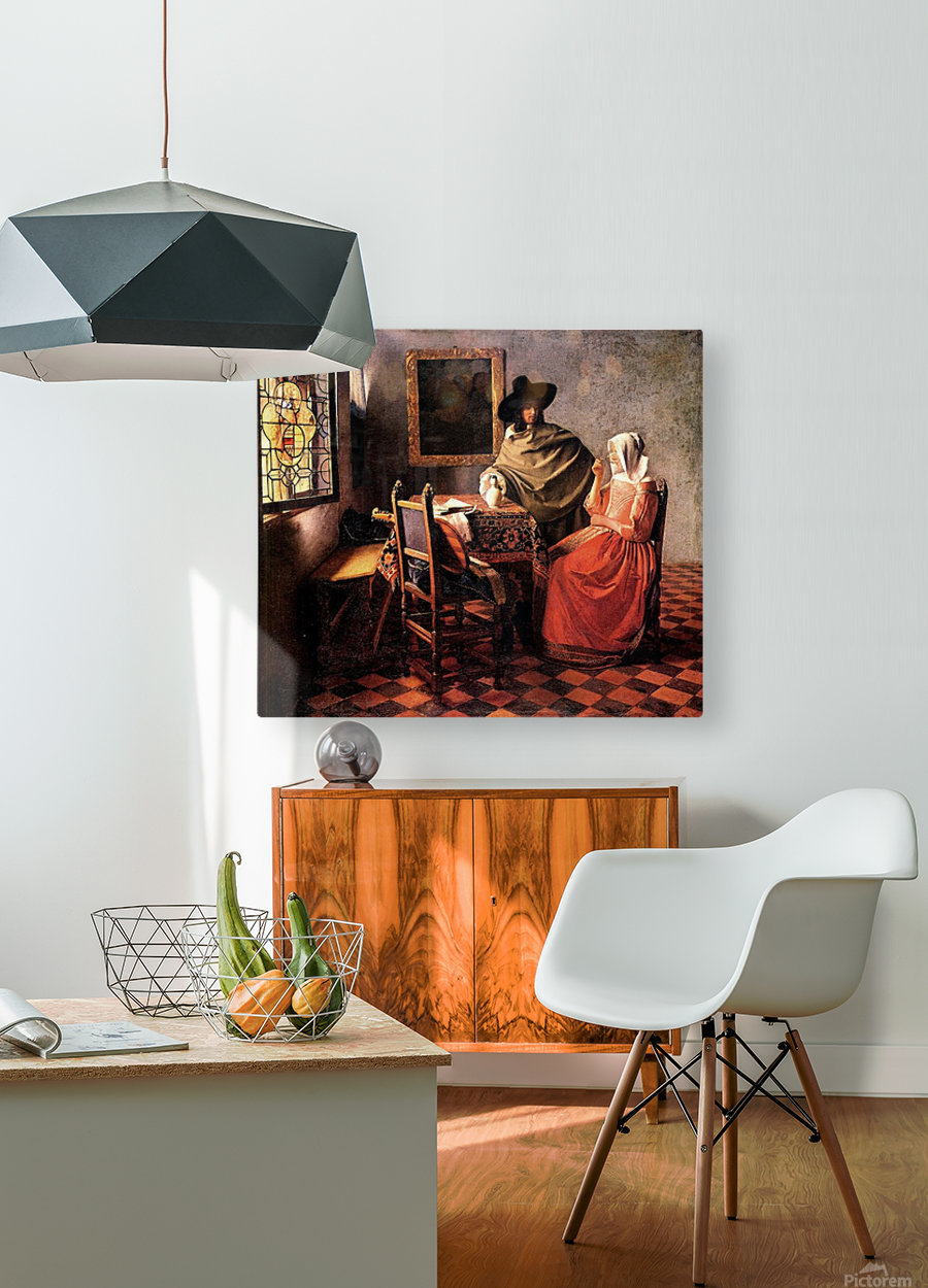 Glass of wine by Vermeer  HD Metal print with Floating Frame on Back