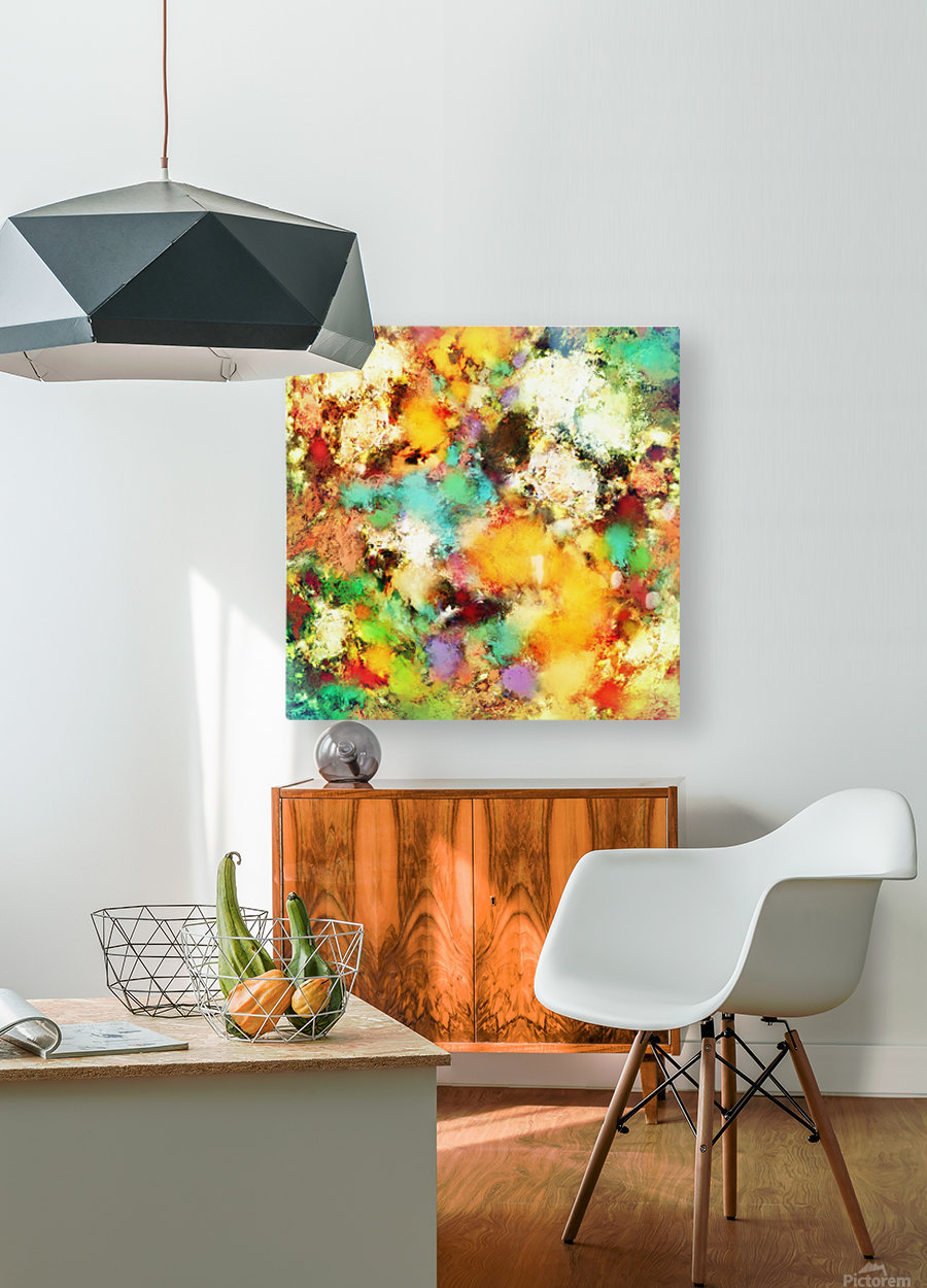 A distorted impact  HD Metal print with Floating Frame on Back