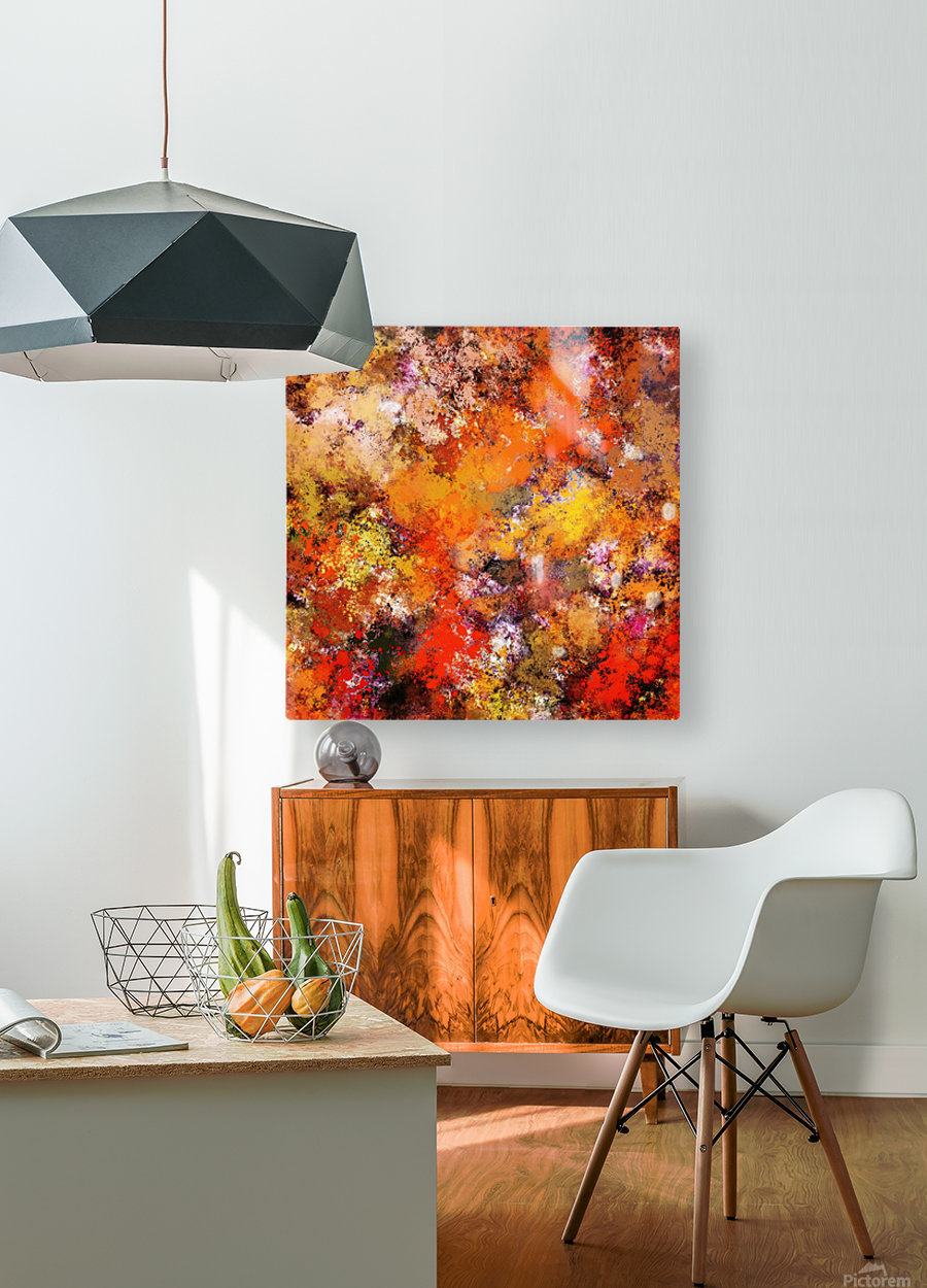 A jumping orange horse  HD Metal print with Floating Frame on Back