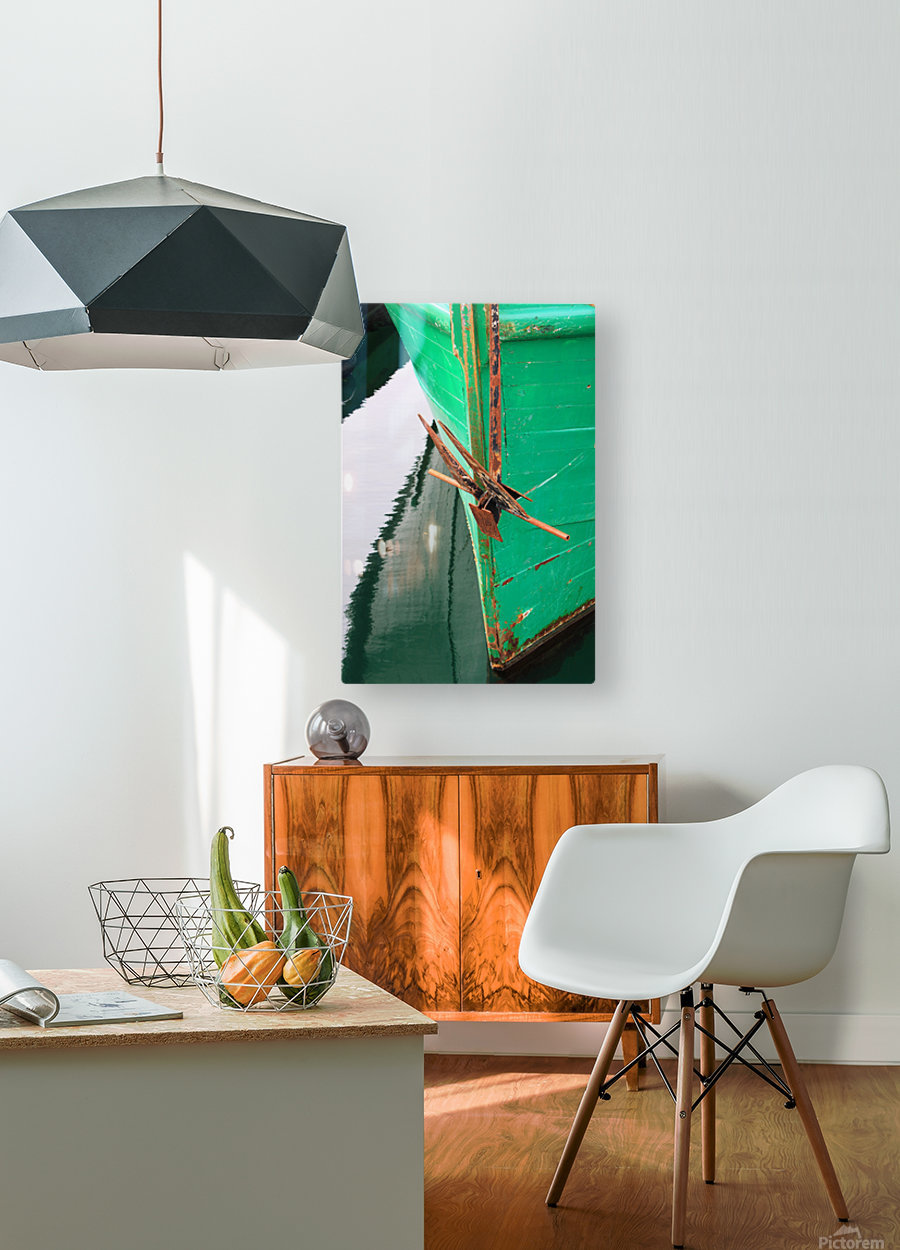 Green Fishing Boat and Anchor In Harbour  HD Metal print with Floating Frame on Back