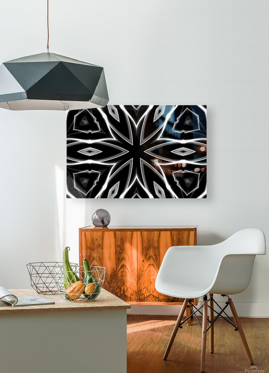 Monochrome Graffiti  HD Metal print with Floating Frame on Back
