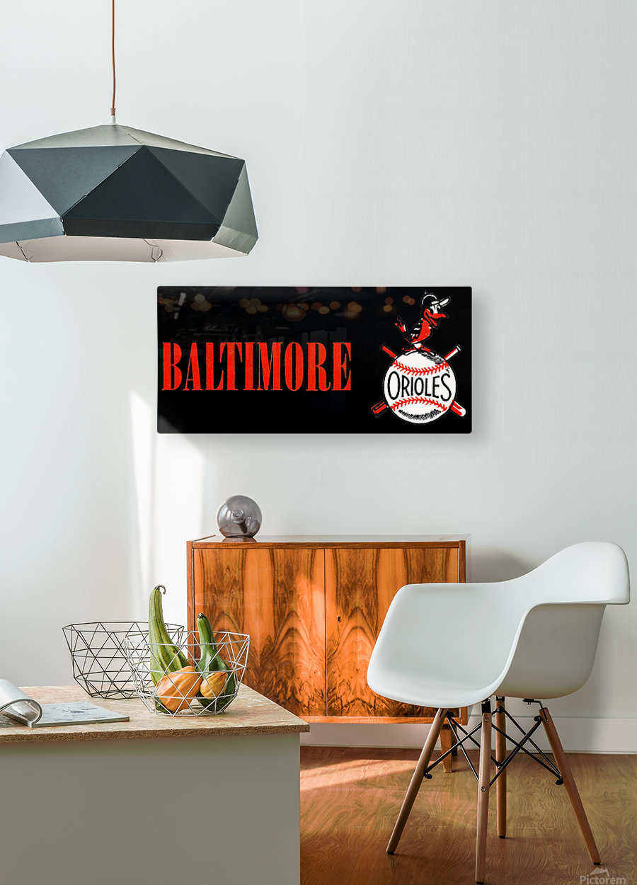 baltimore orioles retro remix row one  Impression métal HD avec cadre flottant sur le dos