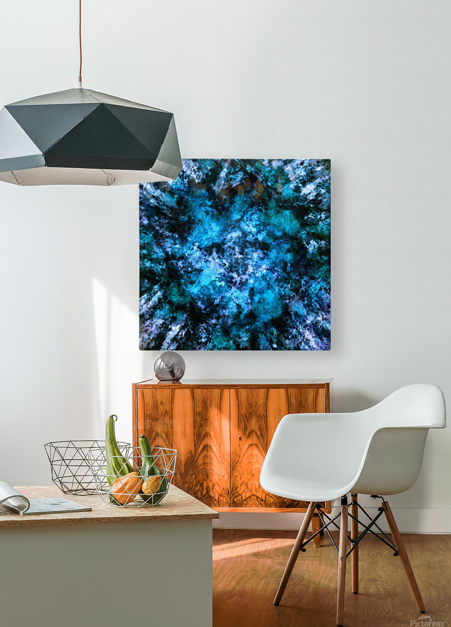 Blue burst  HD Metal print with Floating Frame on Back