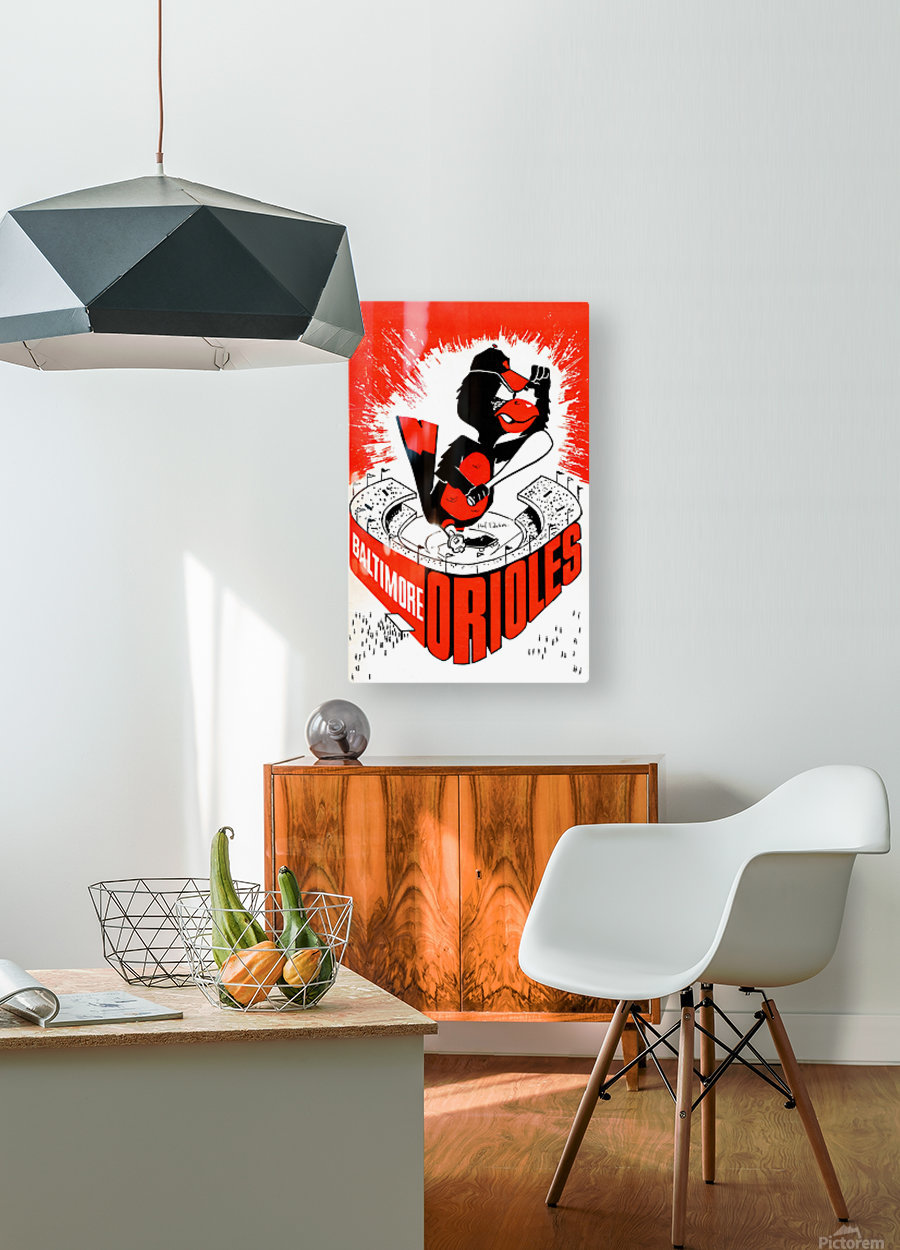 hal decker artist baltimore orioles poster  Impression métal HD avec cadre flottant sur le dos