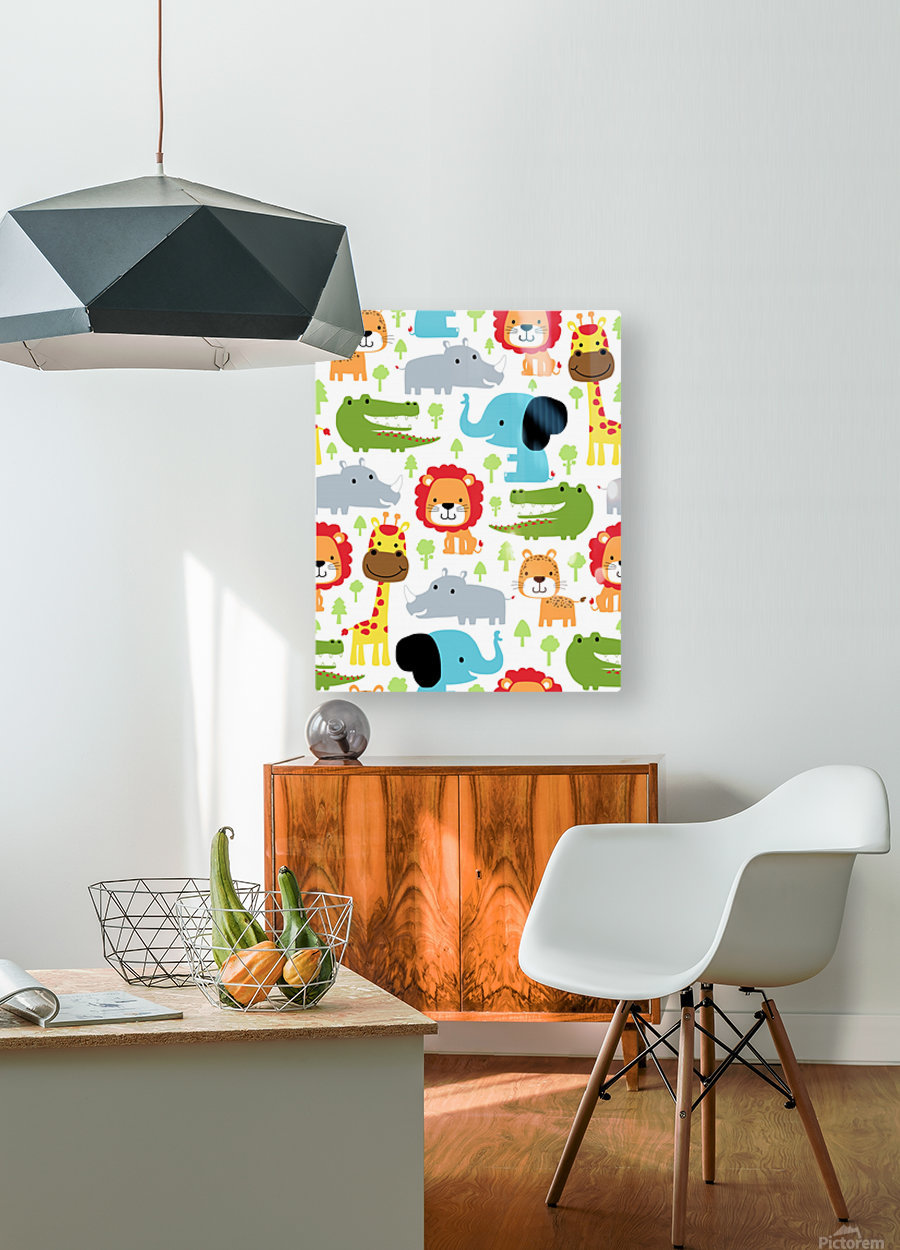 seamless pattern vector with animals cartoon  HD Metal print with Floating Frame on Back
