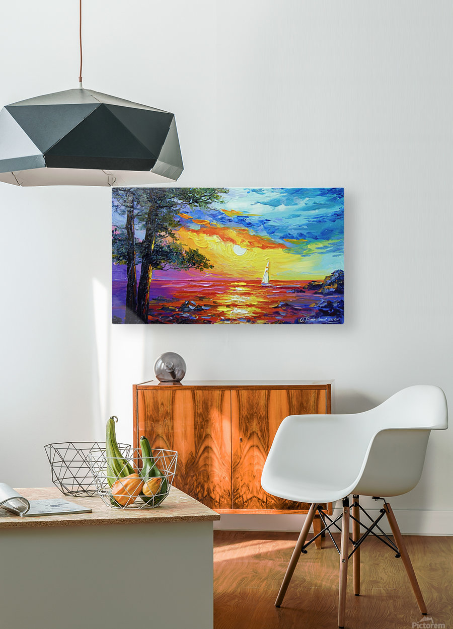 Sailboat at sunset   HD Metal print with Floating Frame on Back