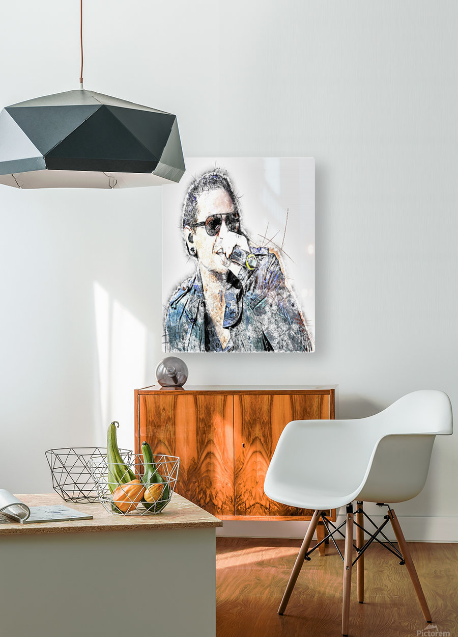 Chester Bennington Linkin Park  HD Metal print with Floating Frame on Back