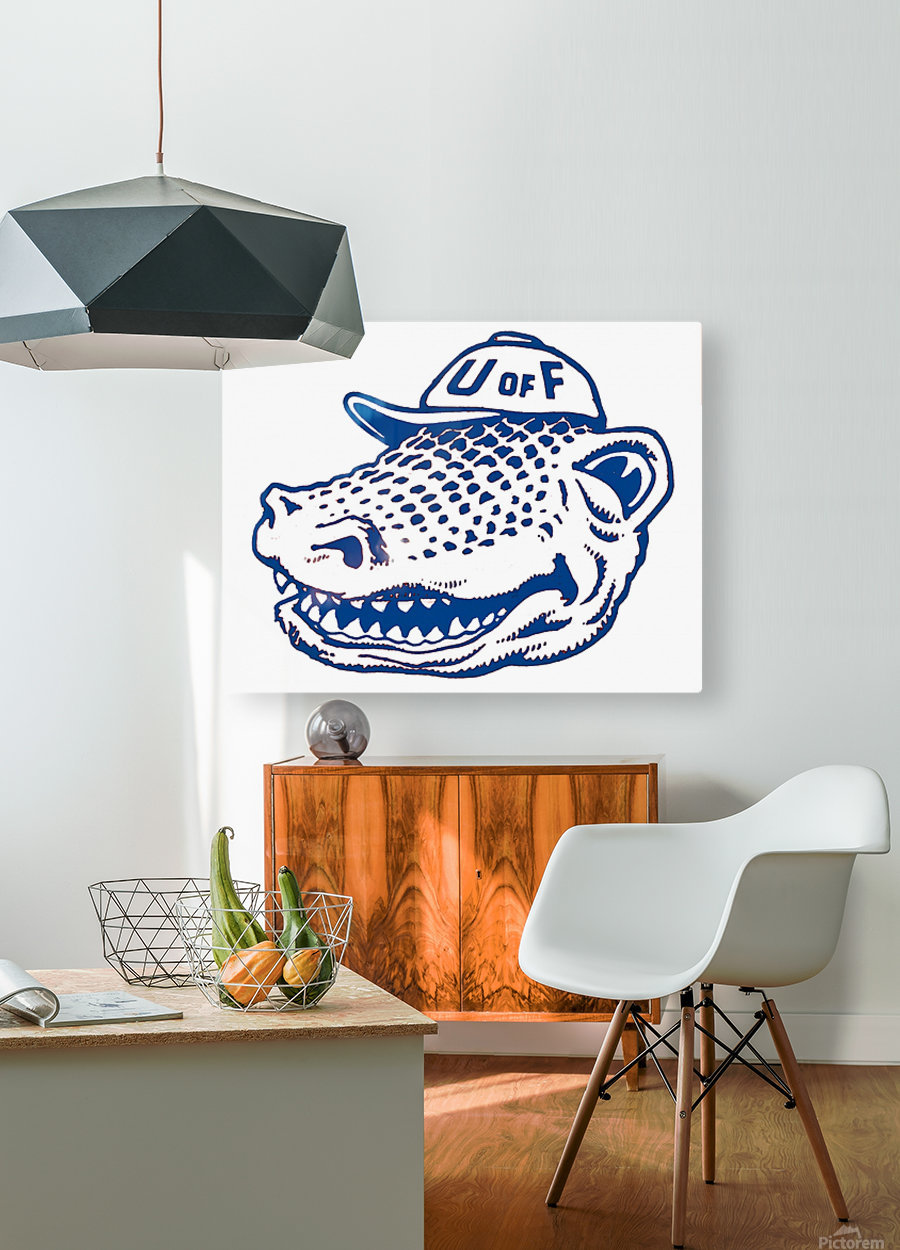 vintage florida gators wall art blue  HD Metal print with Floating Frame on Back