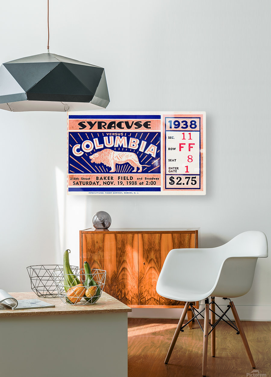 1938 Syracuse vs. Columbia  HD Metal print with Floating Frame on Back