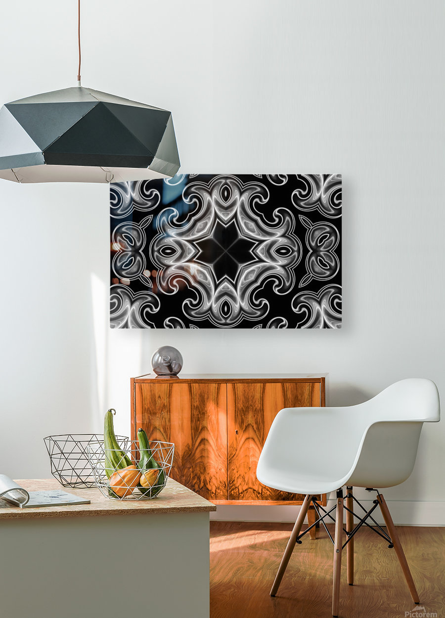Classic Fractal in black and white  HD Metal print with Floating Frame on Back