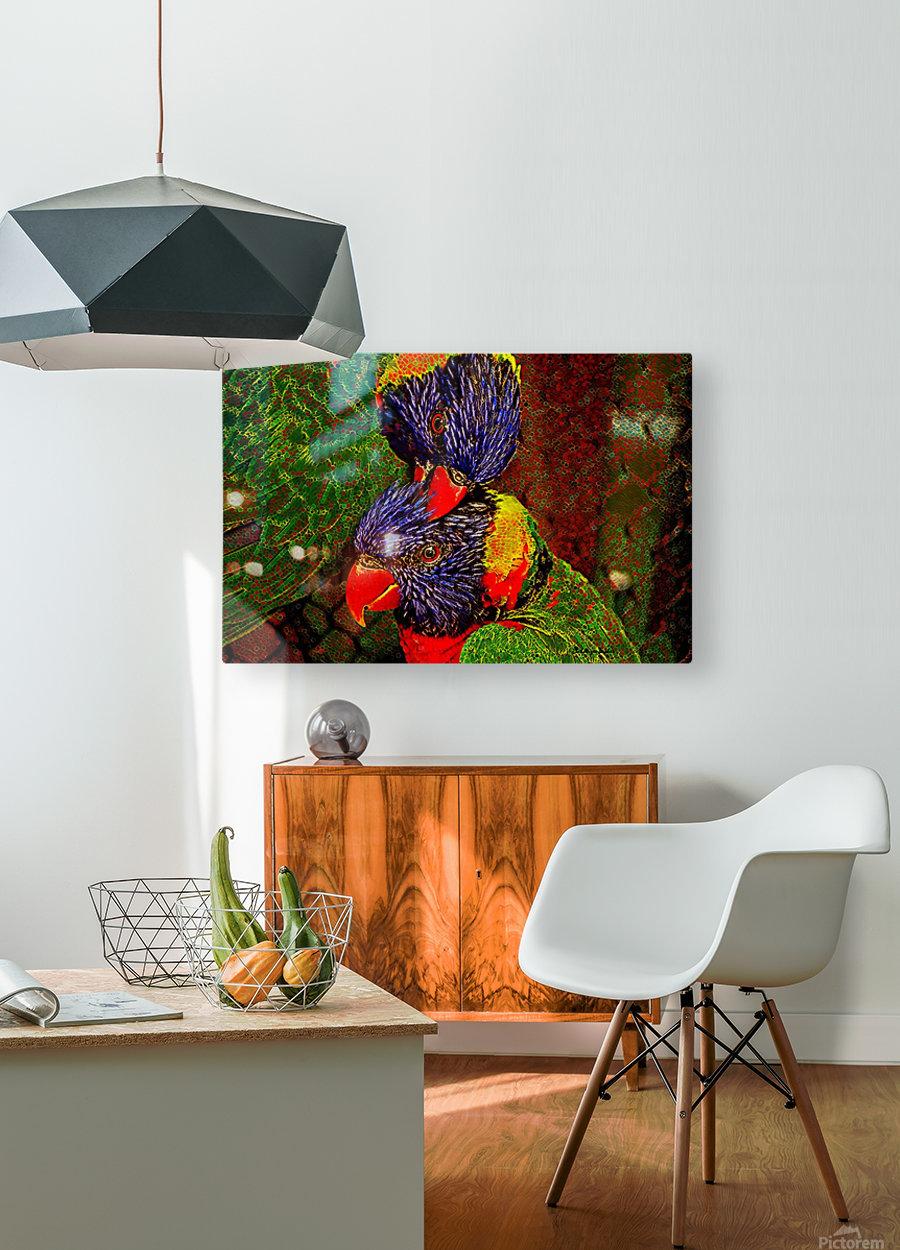 Lovebirds  HD Metal print with Floating Frame on Back