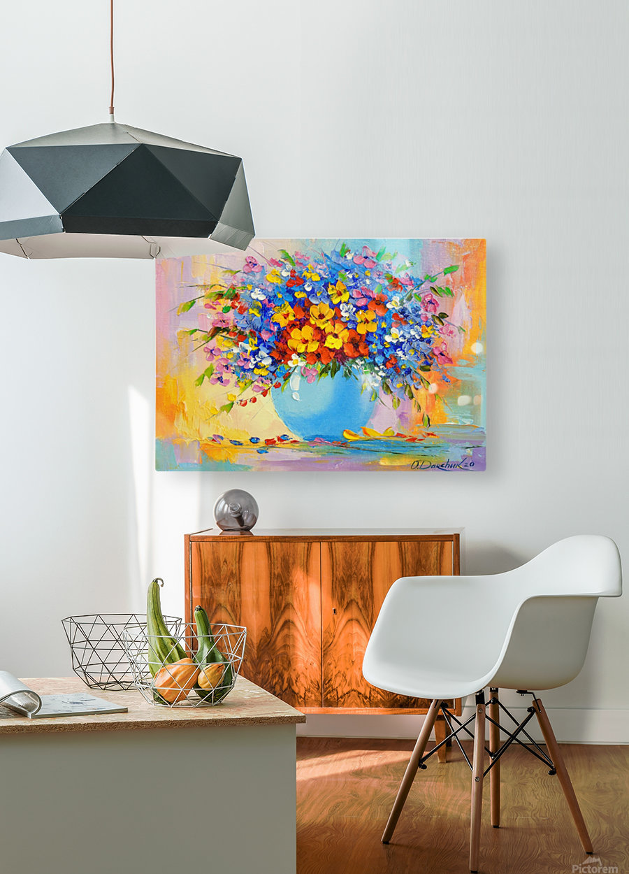 A bouquet of bright flowers  HD Metal print with Floating Frame on Back