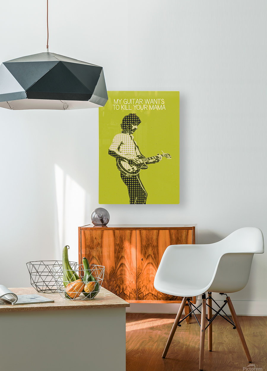My Guitar Wants To Kill Your Mama   Frank Zappa  HD Metal print with Floating Frame on Back