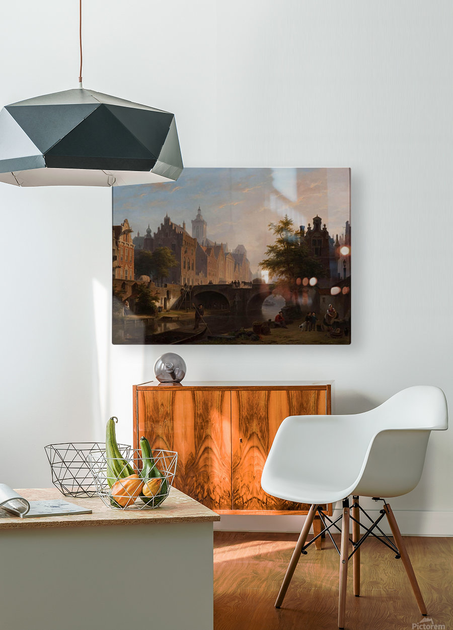 De Oude Gracht in Utrecht  HD Metal print with Floating Frame on Back