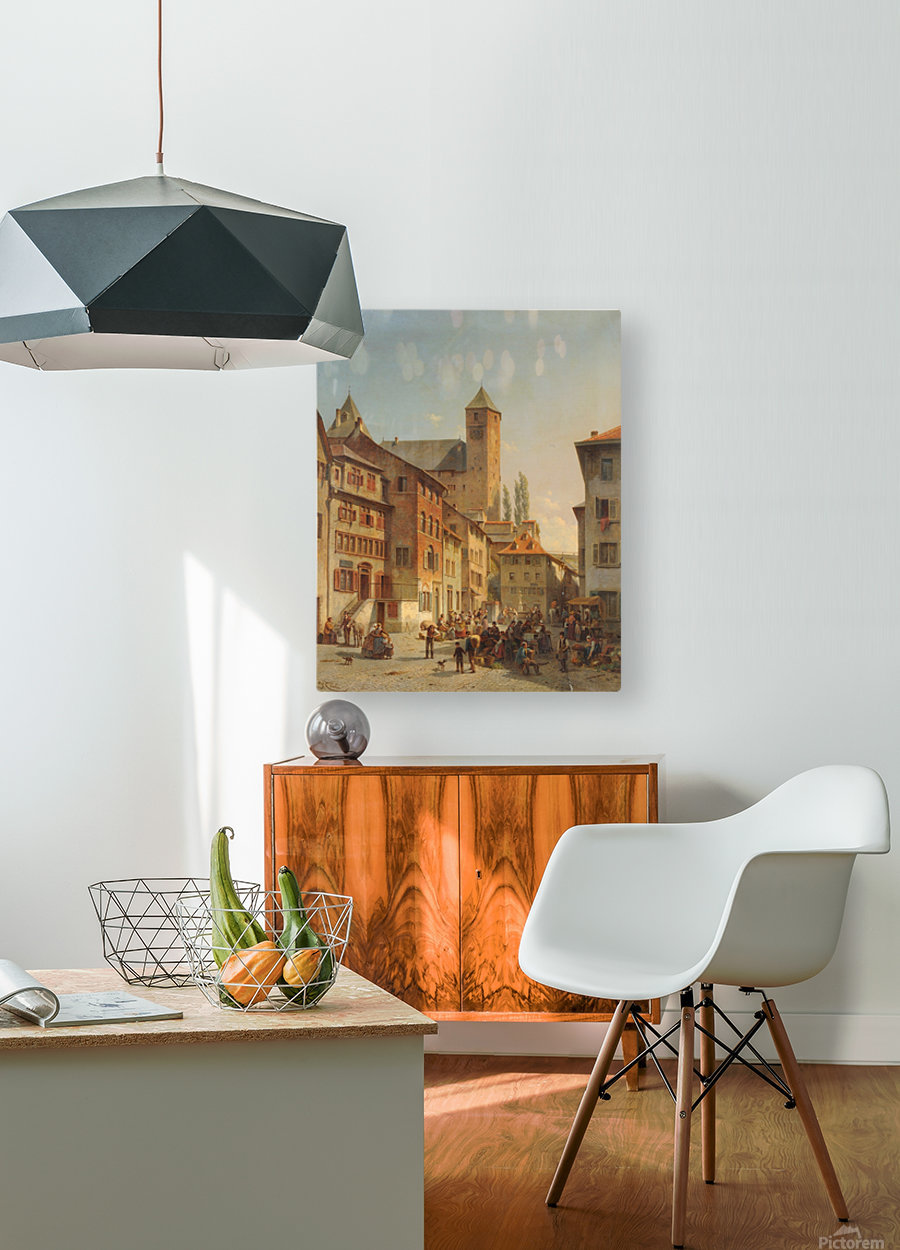 Belgian Continental Market  HD Metal print with Floating Frame on Back