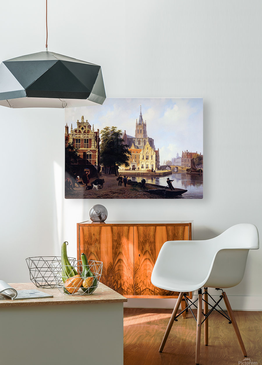 City view with canal Sun  HD Metal print with Floating Frame on Back