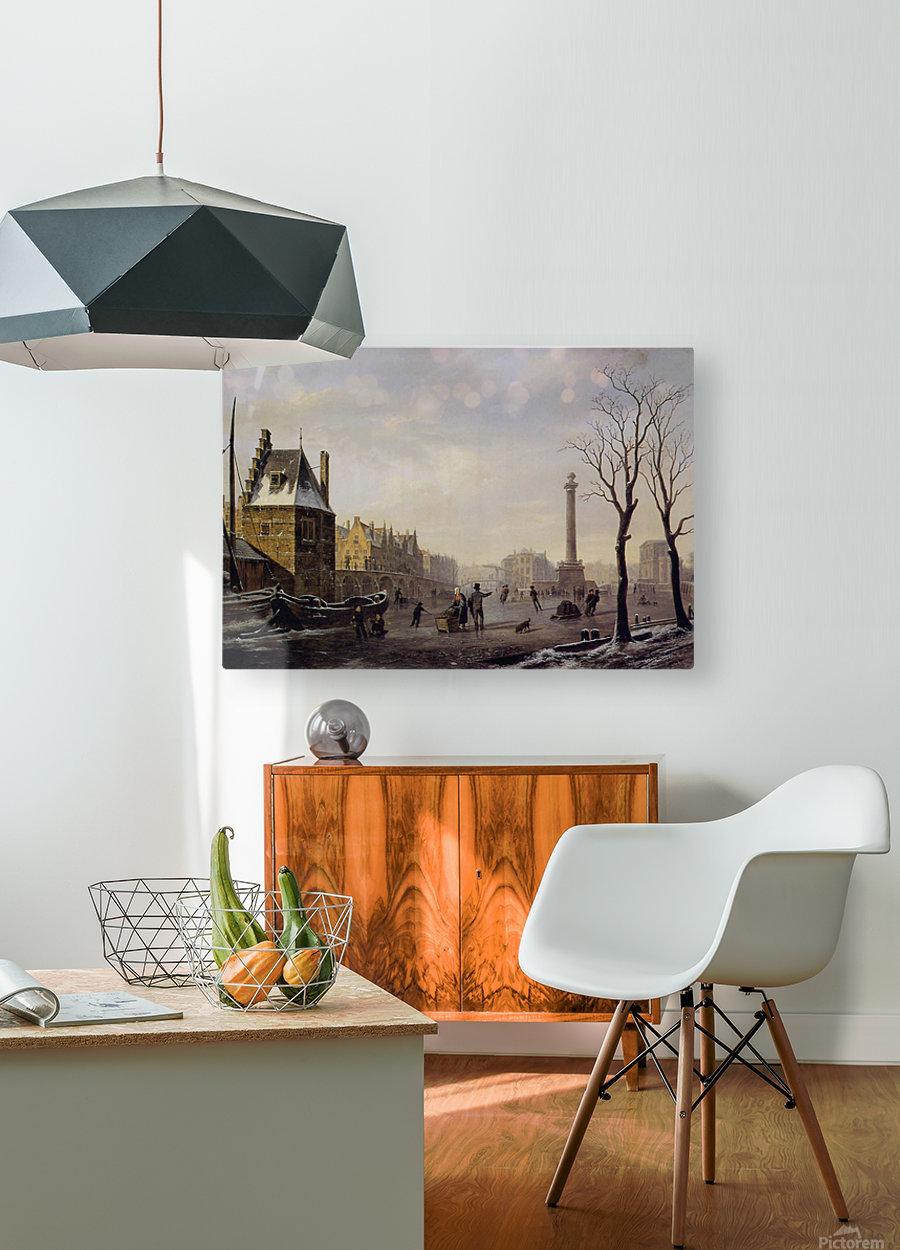 Pompenburg met Hofpoort in de winter  HD Metal print with Floating Frame on Back