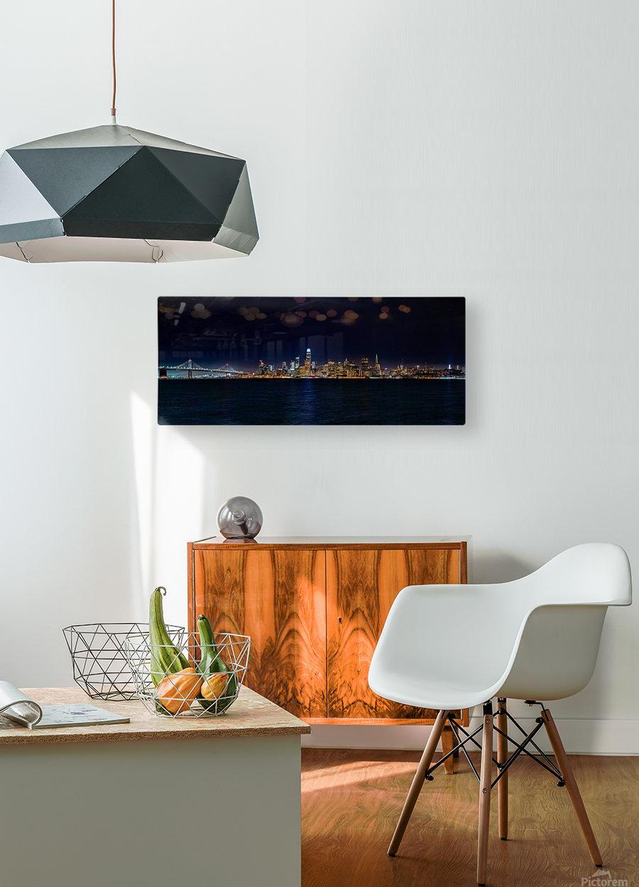 San Francisco City Skyline Panorama  HD Metal print with Floating Frame on Back