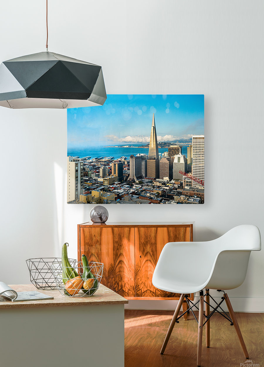 San Francisco Skyline  HD Metal print with Floating Frame on Back
