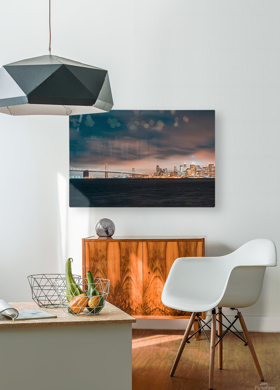 Cloudy San Francisco Night Skyline  HD Metal print with Floating Frame on Back