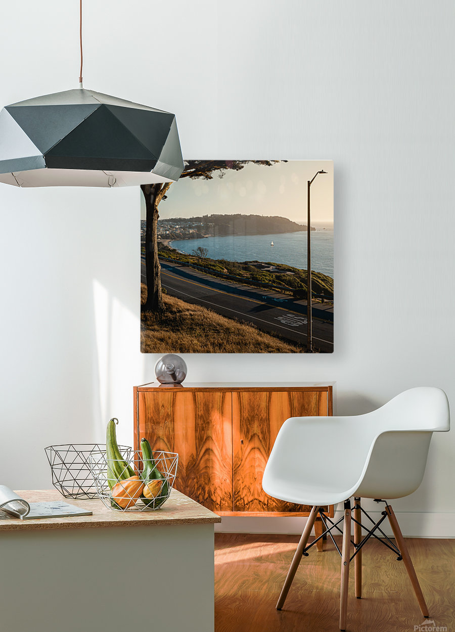 Sunset On San Francisco Coast  HD Metal print with Floating Frame on Back