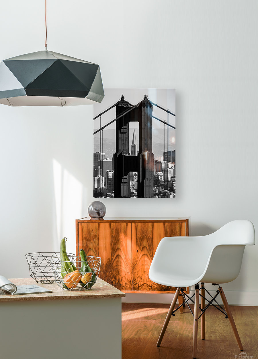 Threading the Needle - Golden Gate Bridge in Black and White  HD Metal print with Floating Frame on Back