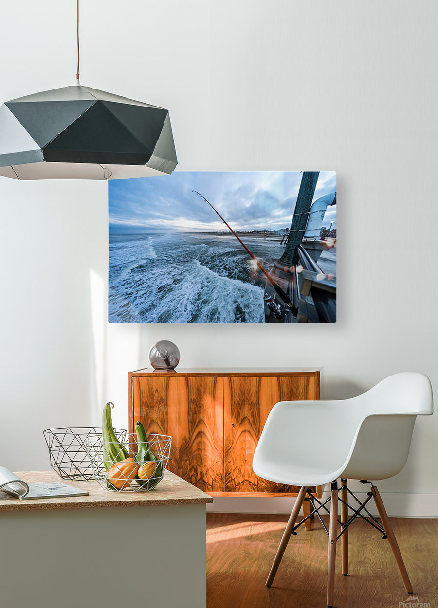 Fishing in Huntington Beach  HD Metal print with Floating Frame on Back