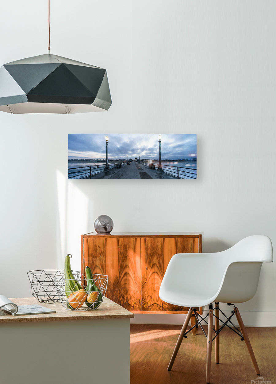 Huntington Beach Pier Panorama  HD Metal print with Floating Frame on Back