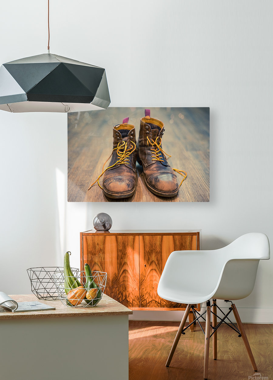Worn Out Boots  HD Metal print with Floating Frame on Back