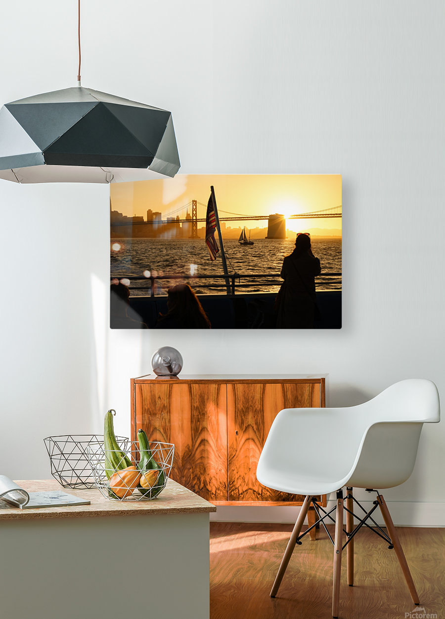 Sunset In The Bay  HD Metal print with Floating Frame on Back