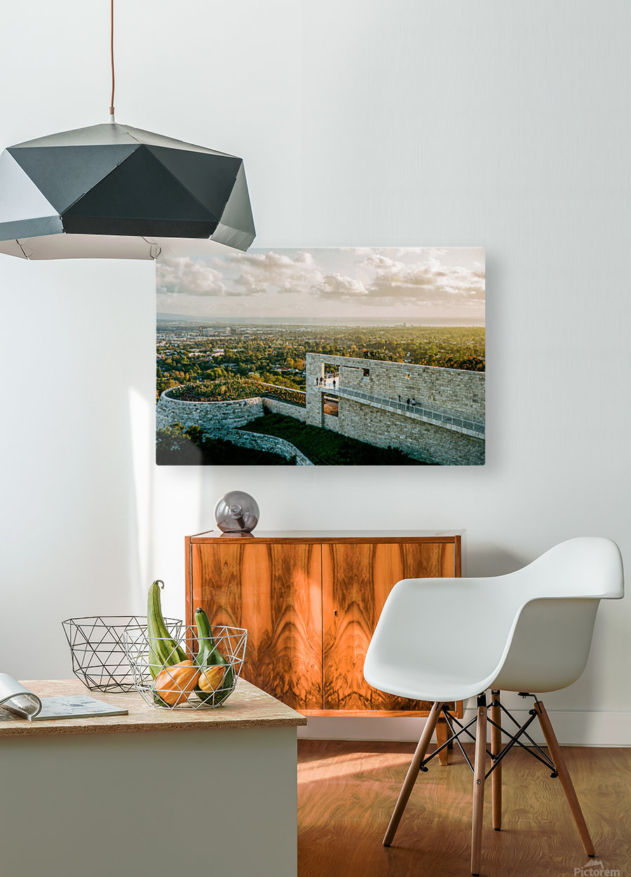 Sunset At The Getty  HD Metal print with Floating Frame on Back