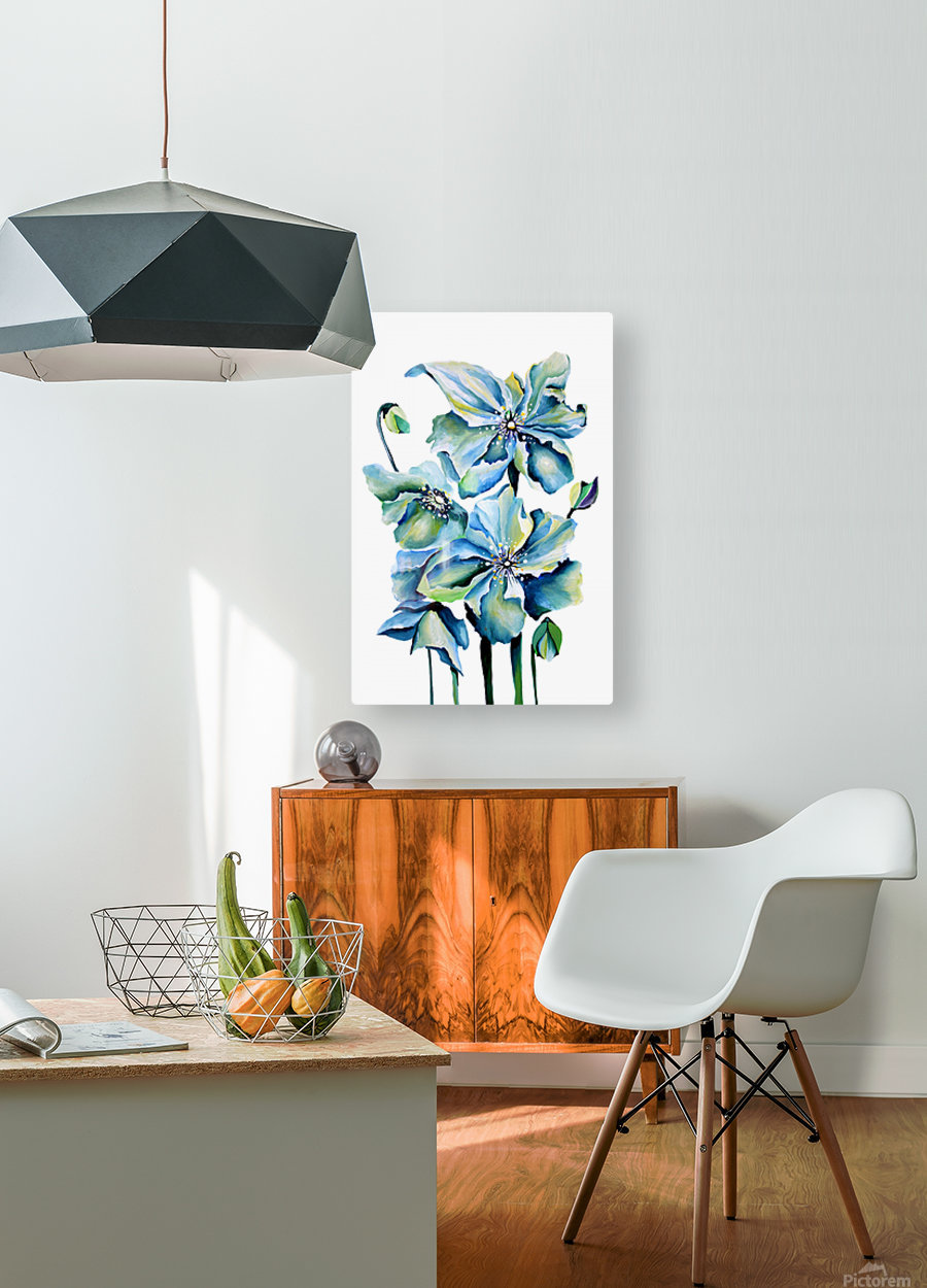 Blue Poppies Watercolor  HD Metal print with Floating Frame on Back