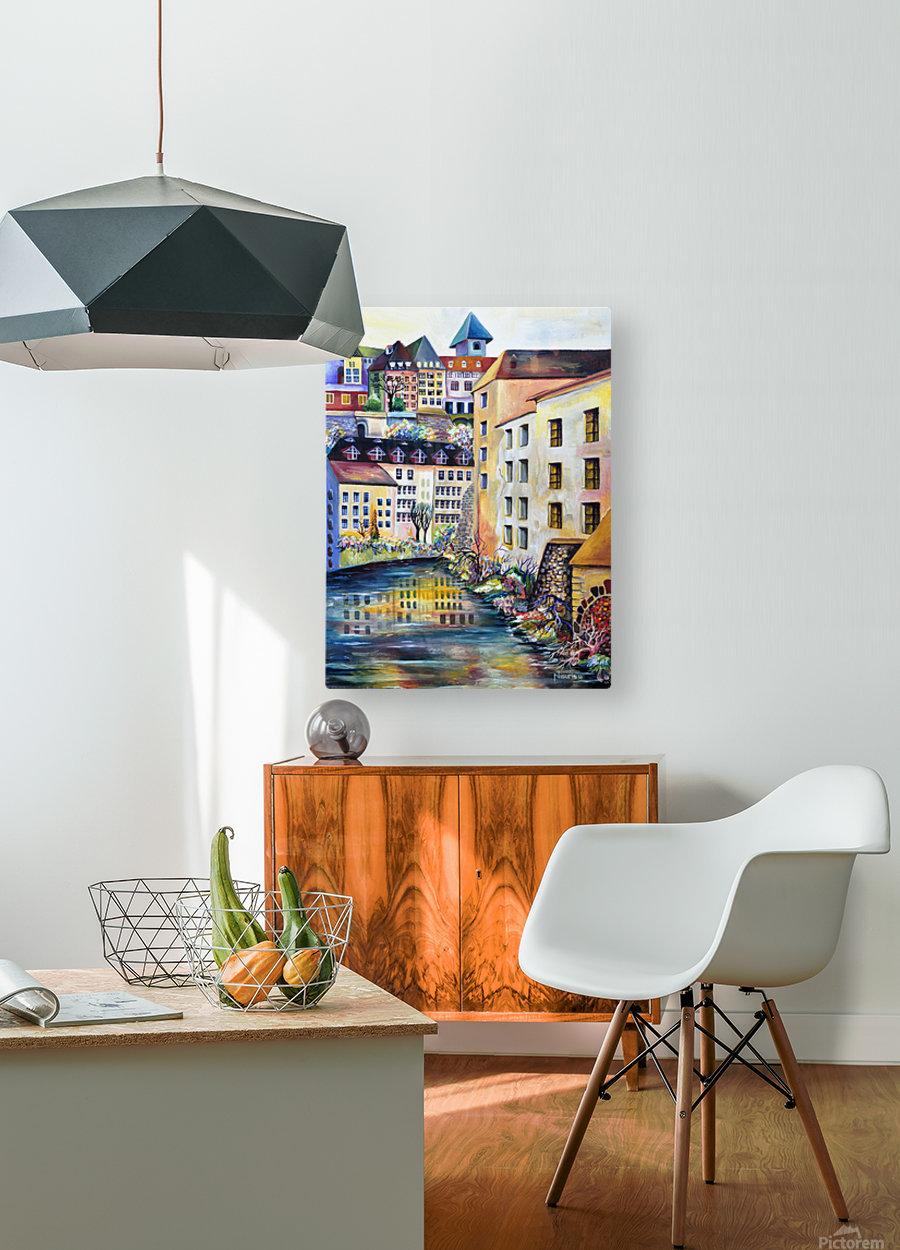 Sweden Stockholm Gamla Stan Watercolor  HD Metal print with Floating Frame on Back