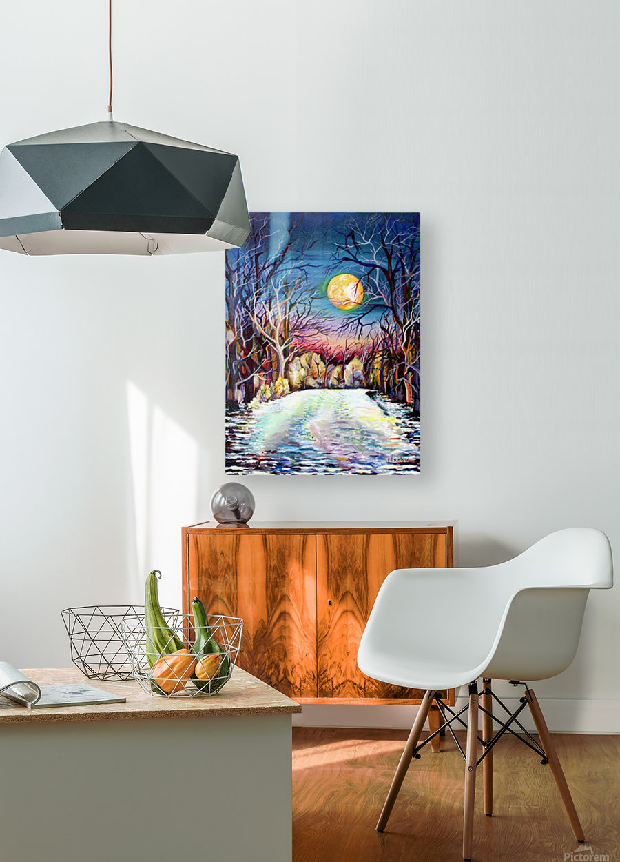 Winter Full Moon Night Landscape Watercolor  HD Metal print with Floating Frame on Back