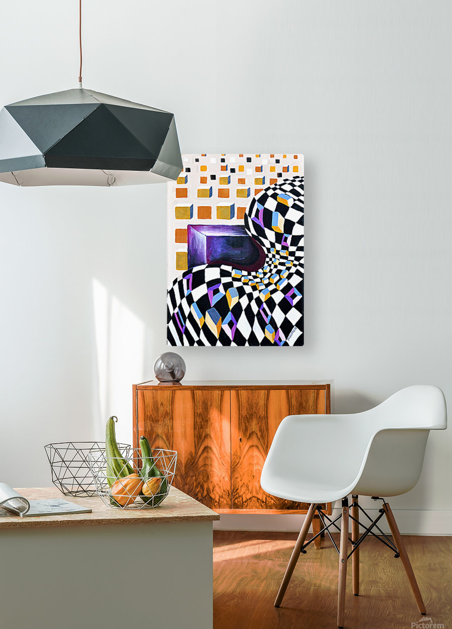 Retro Minimalism Abstract Chess Pattern  HD Metal print with Floating Frame on Back