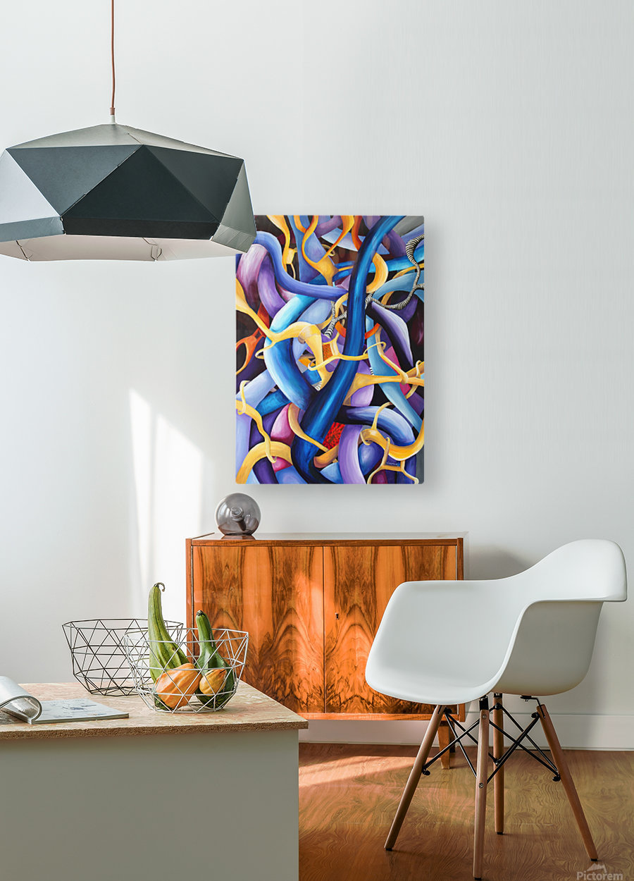 Interlacing Vivid Contemporary Abstract  HD Metal print with Floating Frame on Back