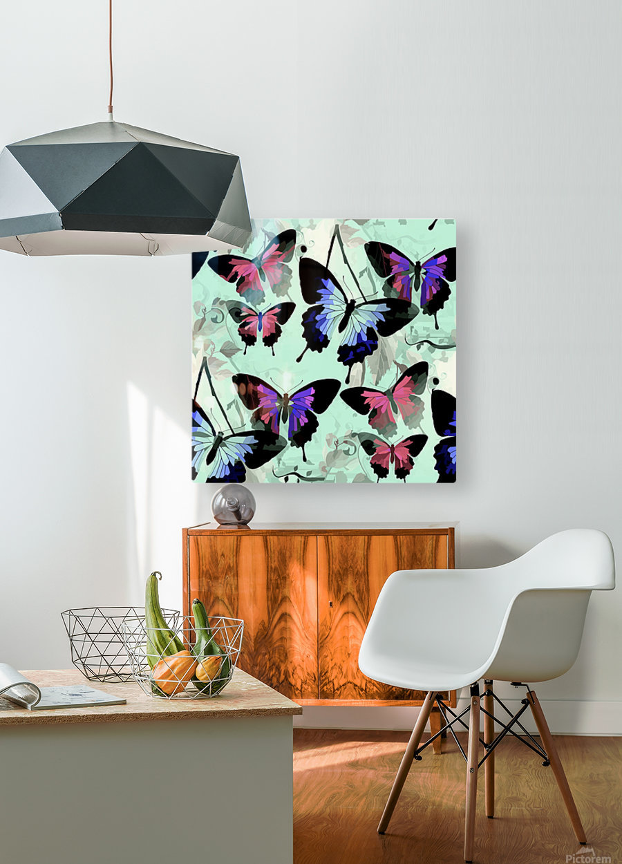 Seamless Butterflies Pattern   HD Metal print with Floating Frame on Back