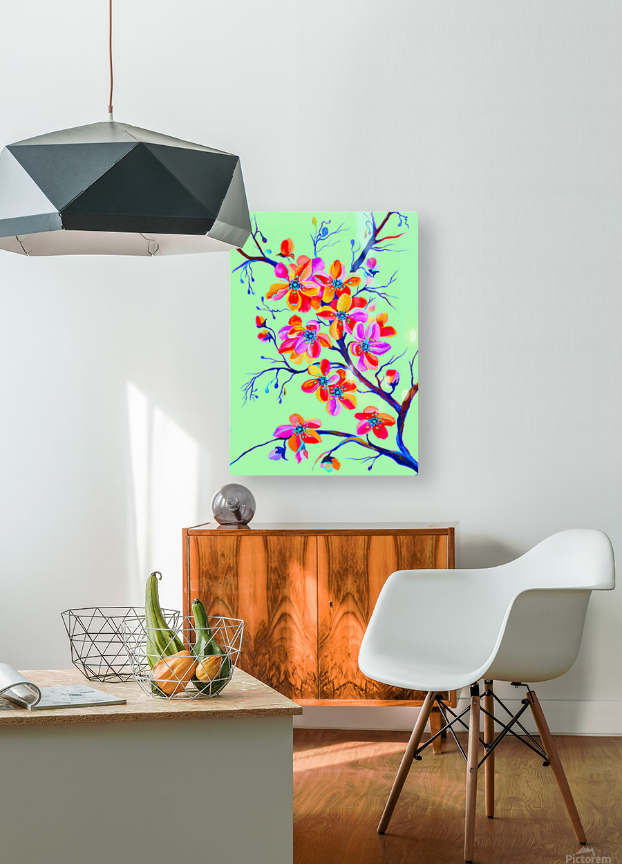 Watercolor Sakura Japanesse Cherry Flowers  HD Metal print with Floating Frame on Back