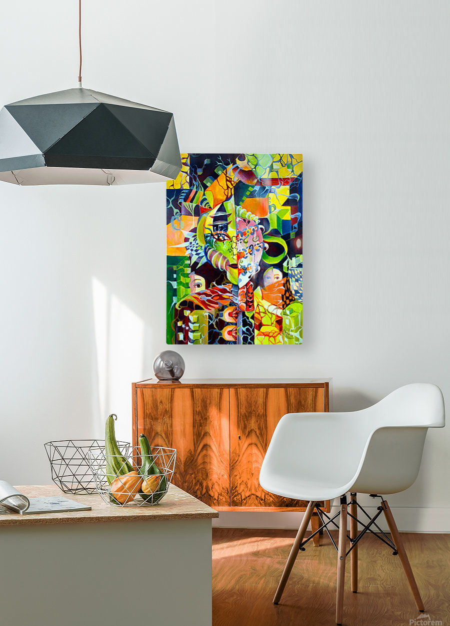 Pop Currealism Contemporary Vivid Utopia  HD Metal print with Floating Frame on Back