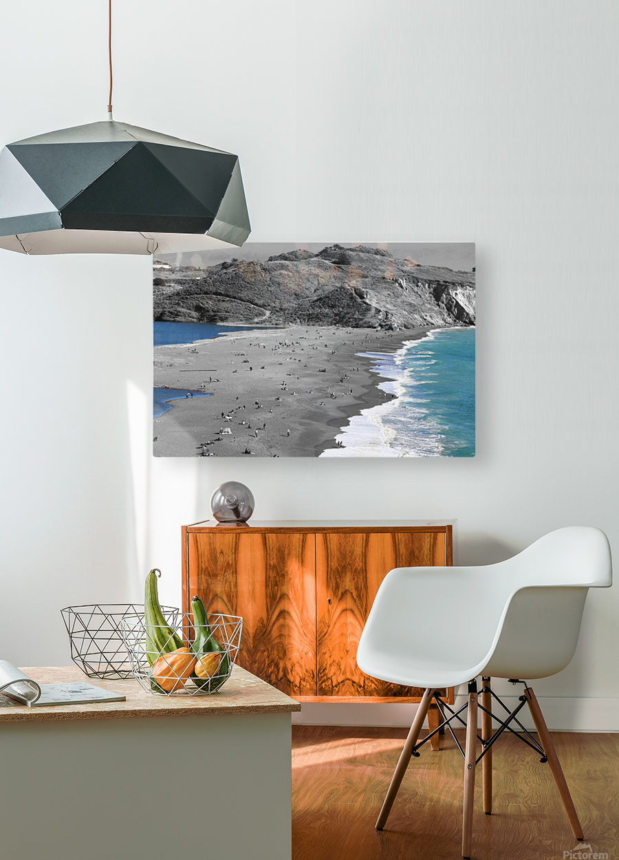 2 Bodies 1 Beach  HD Metal print with Floating Frame on Back