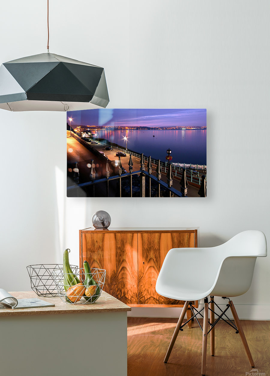 Swansea Bay at night  HD Metal print with Floating Frame on Back