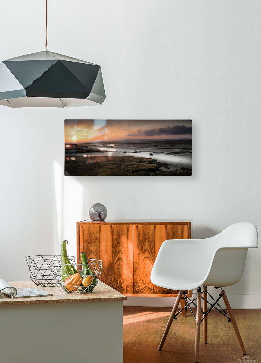 Penclawdd marsh sunset  HD Metal print with Floating Frame on Back