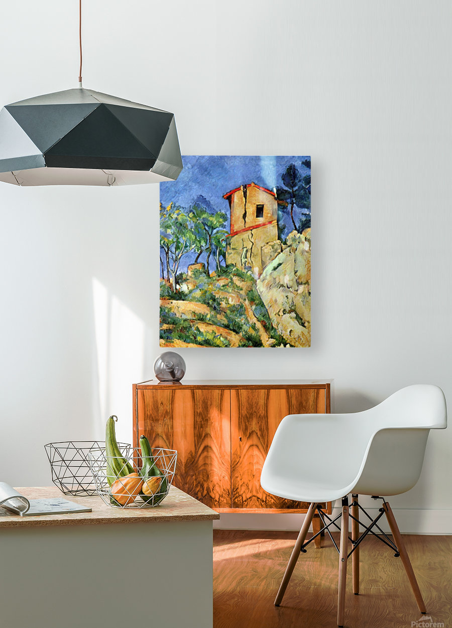House with Walls by Cezanne  HD Metal print with Floating Frame on Back