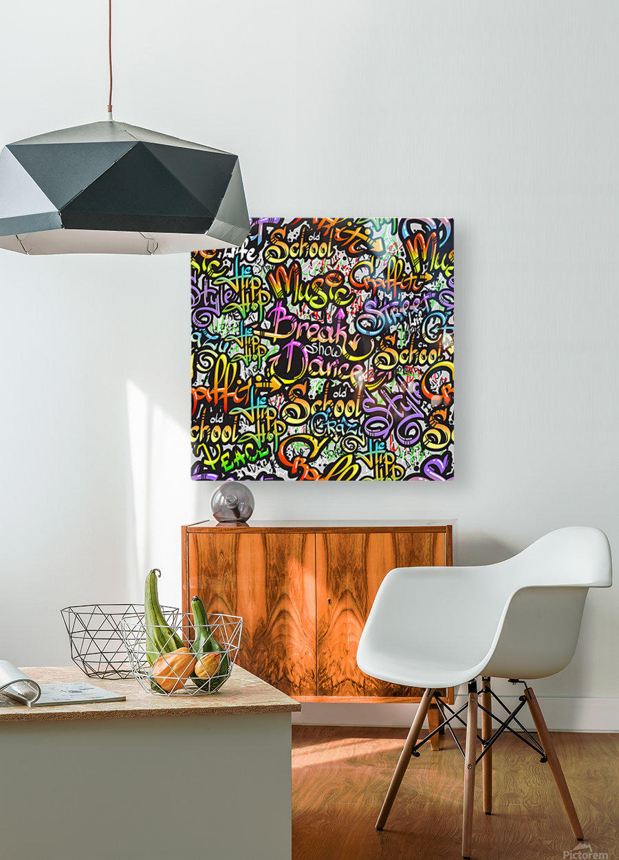 graffiti word seamless pattern  HD Metal print with Floating Frame on Back