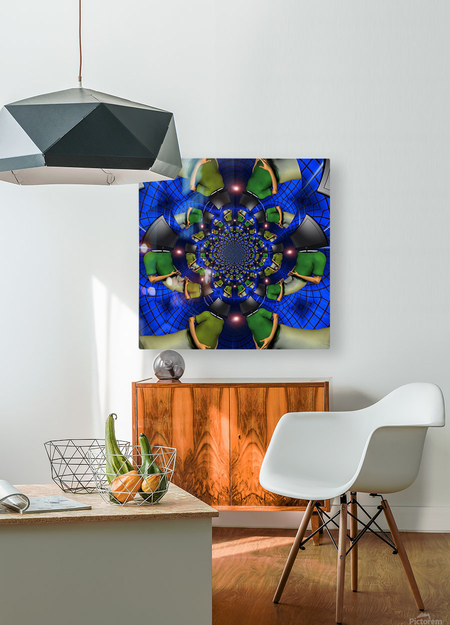 TV Head  HD Metal print with Floating Frame on Back