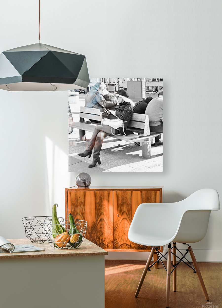 Dimanche Le Long de Champs Elysees  HD Metal print with Floating Frame on Back