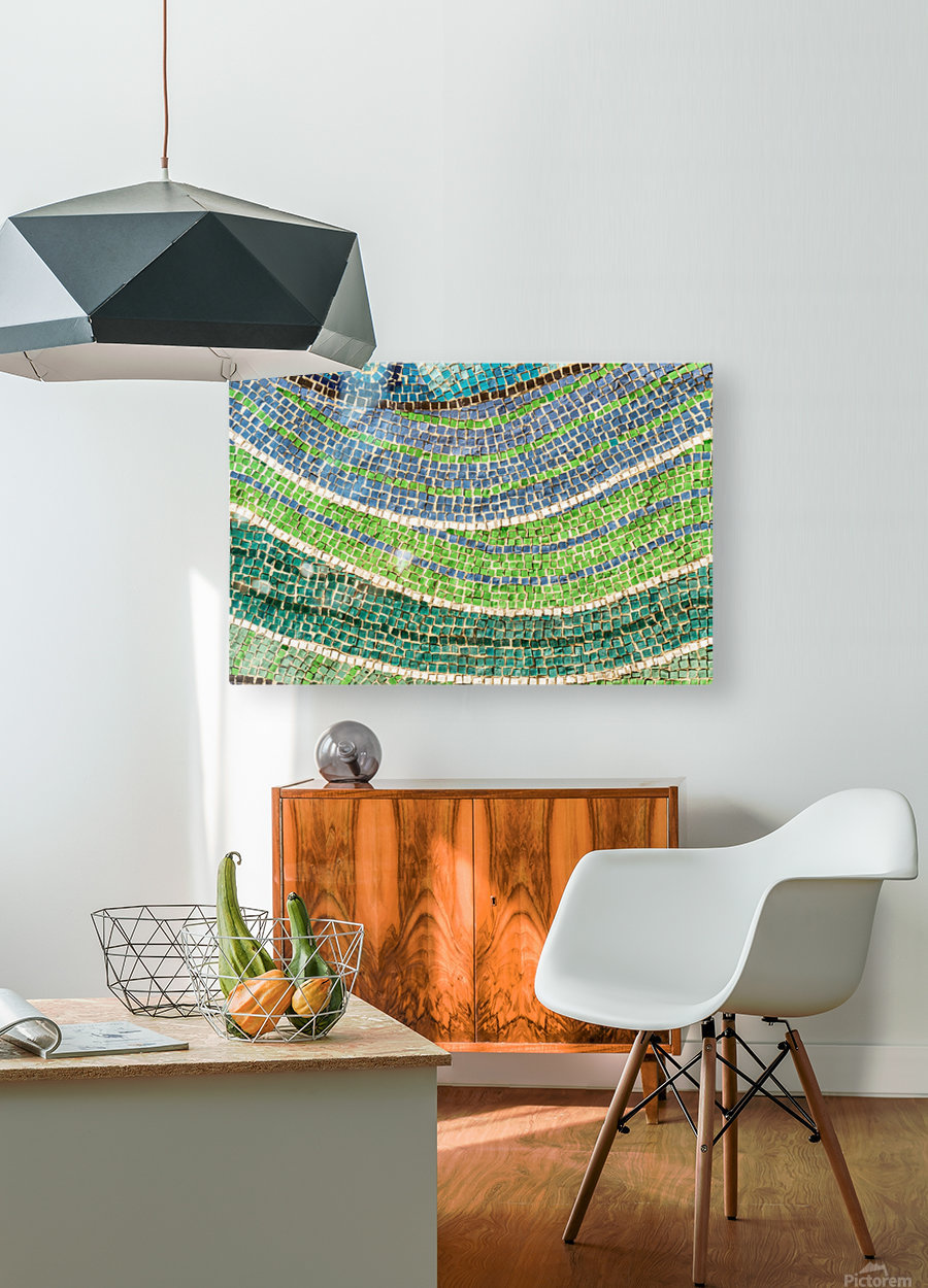 Tessellated Abstracts and Impressions - Free Form Meadows and Flowerbeds in Green and Blue  HD Metal print with Floating Frame on Back
